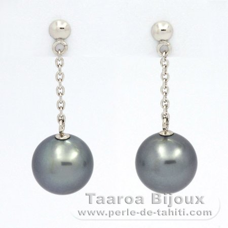 Gold 14k Earrings and 2 Tahitian Pearls Round B 8.8 mm