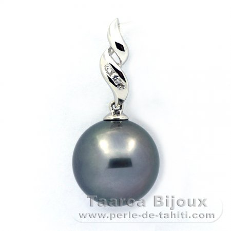 Rhodiated Sterling Silver Pendant and 1 Tahitian Pearl Round C 12.8 mm