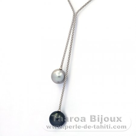 Rhodiated Sterling Silver Necklace and 2 Tahitian Pearls Round C+ 11.6 and 12.2 mm