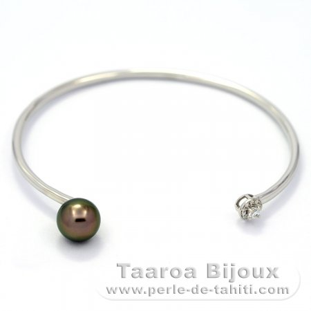 Rhodiated Sterling Silver Bracelet and 1 Tahitian Pearl Round B 8.5 mm