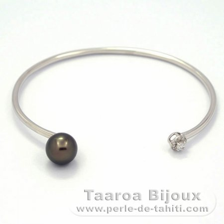 Rhodiated Sterling Silver Bracelet and 1 Tahitian Pearl Round A 8.8 mm