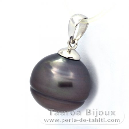 Rhodiated Sterling Silver Pendant and 1 Tahitian Pearl Ringed C 12.5 mm