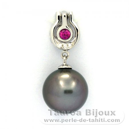 Rhodiated Sterling Silver Pendant and 1 Tahitian Pearl Round C 10.8 mm