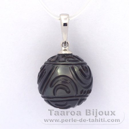 .925 Solid Silver Pendant and 1 Engraved Tahitian Pearl 13.3 mm