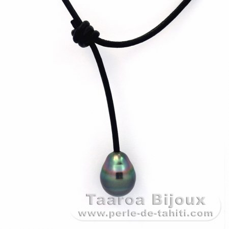 Leather Necklace and 4 Tahitian Pearls Ringed C 9.1 to 10.7 mm