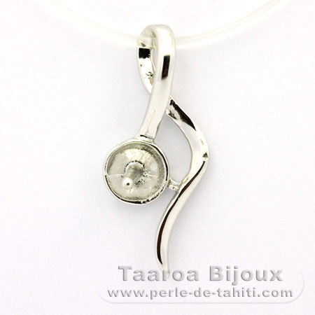 .925 Solid Silver + Rhodium Pendant for 1 Pearl from 8 to 9 mm - Setting for pearls