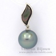 .925 Solid Silver Pendant and 1 Tahitian Pearl Round C 10.8 mm