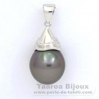 18K Solid White Gold Pendant and 1 Tahitian Pearl Semi-Baroque B 12.4 mm