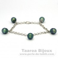 .925 Solid Silver Bracelet and 5 Tahitian Pearls Ringed B+ from 9 to 9.2 mm