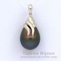 Rhodiated Sterling Silver Pendant and 1 Tahitian Pearl Semi-Baroque C 12.3 mm
