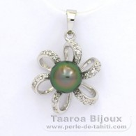 .925 Solid Silver Pendant and 1 Tahitian Pearl Semi-Baroque C 8.3 mm