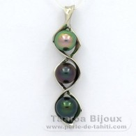 .925 Solid Silver Pendant and 3 Tahitian Pearls Round C+ from 9.2 to 9.3 mm