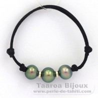 Waxed cotton Bracelet and 3 Tahitian Pearls Semi-Baroque B from 10 to 10.4 mm