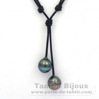Leather Necklace and 2 Tahitian Pearls Ringed C 12.1 and 12.3 mm