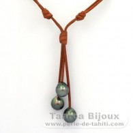 Leather Necklace and 3 Tahitian Pearls Semi-Baroque C from 10 to 10.4 mm