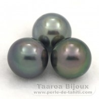 Lot of 3 Tahitian Pearls Semi-Round C from 9.8 to 9.9 mm