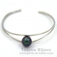 .925 Solid Silver Bracelet and 1 Tahitian Pearl Semi-Baroque C 9.5 mm