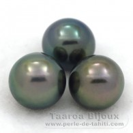 Lot of 3 Tahitian Pearls Semi-Round C from 9.4 to 9.7 mm