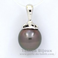 .925 Solid Silver Pendant and 1 Tahitian Pearl Semi-Baroque C 11 mm