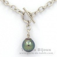 .925 Solid Silver Bracelet and 1 Tahitian Pearl Semi-Baroque C 10.4 mm