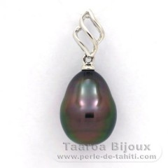 18K Solid White Gold Pendant and 1 Tahitian Pearl Semi-Baroque A 9.4 mm