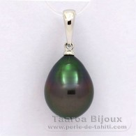 18K Solid White Gold Pendant and 1 Tahitian Pearl Semi-Baroque B 10.2 mm