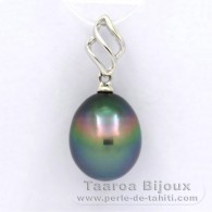 18K Solid White Gold Pendant and 1 Tahitian Pearl Semi-Baroque B 9.4 mm