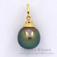 18K solid Gold Pendant and 1 Tahitian Pearl Semi-Baroque B 11.3 mm