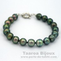 .925 Solid Silver Bracelet and 18 Tahitian Pearls Ringed B from 9 to 9.4 mm