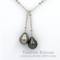 .925 Solid Silver Necklace and 2 Tahitian Pearls Semi-Baroque B 8.7 and 9 mm