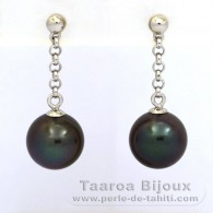 .925 Solid Silver Earrings and 2 Tahitian Pearls Round C 9.1 mm