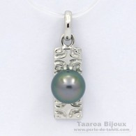 .925 Solid Silver Pendant and 1 Tahitian Pearl Round C 8.2 mm
