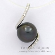 .925 Solid Silver Pendant and 1 Tahitian Pearl Semi-Round C 9.2 mm