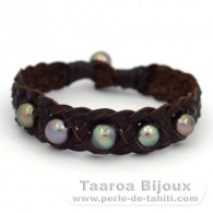 Leather Bracelet and 6 Tahitian Pearls Semi-Baroque C from 8.5 to 9.3 mm