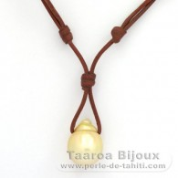 Leather Necklace and 1 Australian Pearl Semi-Baroque C 14.1 mm