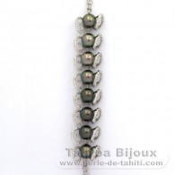 .925 Solid Silver Bracelet and 8 Tahitian Pearls Semi-Round C from 9 to 9.3 mm