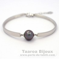 .925 Solid Silver Bracelet and 1 Tahitian Pearl Round B 11 mm