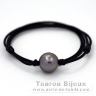 Waxed cotton Necklace and 1 Tahitian Pearl Round C 13.6 mm