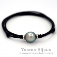 Waxed cotton Necklace and 1 Tahitian Pearl Semi-Baroque C+ 12.5 mm