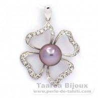 .925 Solid Silver Pendant and 1 Tahitian Pearl Semi-Round B+ 9.1 mm