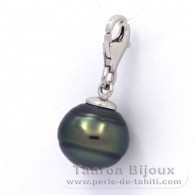 .925 Solid Silver Pendant and 1 Tahitian Pearl Ringed B 11.3 mm