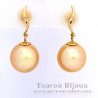 18K solid Gold Earrings + 2 diamonds of 0.01 carats HS1 and 2 Australian Pearls Semi-Round B 11 mm