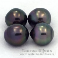 Lot of 4 Tahitian Pearls Semi-Baroque C from 10.1 to 10.4 mm
