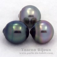 Lot of 3 Tahitian Pearls Semi-Baroque C from 11.5 to 11.7 mm