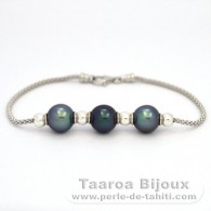 .925 Solid Silver Bracelet and 3 Tahitian Pearls Semi-Round C from 9.5 to 9.7 mm