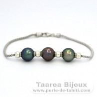 .925 Solid Silver Bracelet and 3 Tahitian Pearls Semi-Round B+ from 9.7 to 9.8 mm