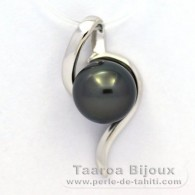 .925 Solid Silver Pendant and 1 Tahitian Pearl Round C 9.1 mm