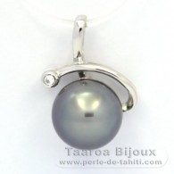 .925 Solid Silver Pendant and 1 Tahitian Pearl Semi-Round C 9.6 mm