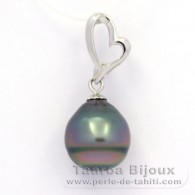 .925 Solid Silver Pendant and 1 Tahitian Pearl Ringed B 10.9 mm