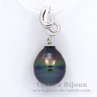 .925 Solid Silver Pendant and 1 Tahitian Pearl Ringed B 10 mm